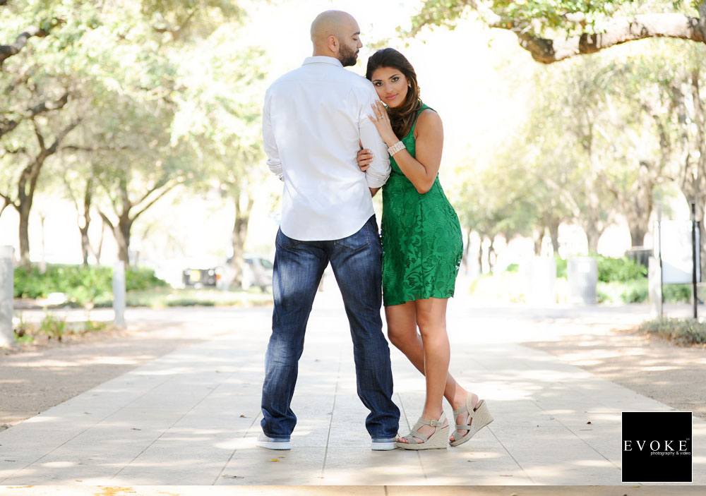 Engagement Session by EVOKE Photography and Video at Discovery Green Houston Texas.