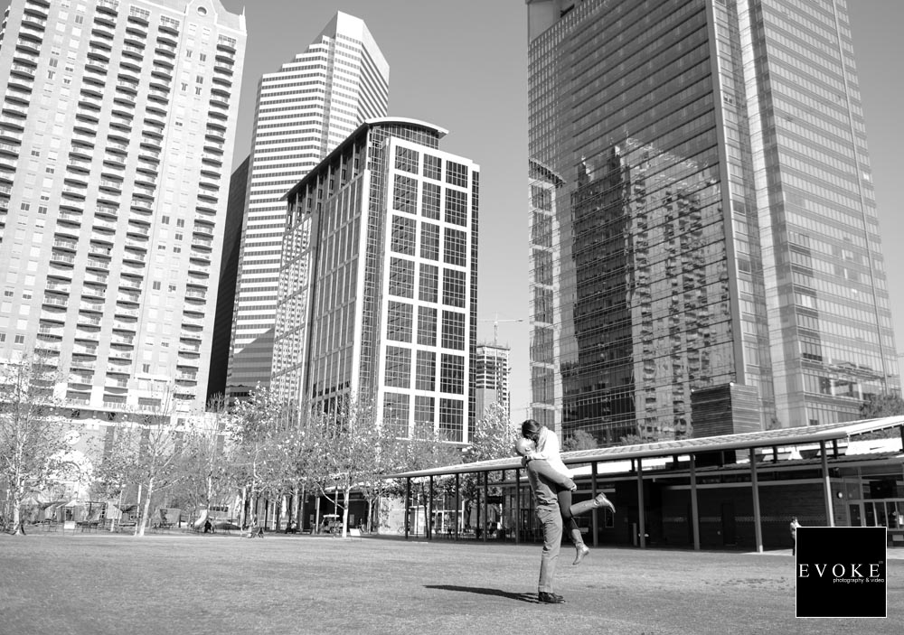Downtown Houston Engagement Session in Black and White.