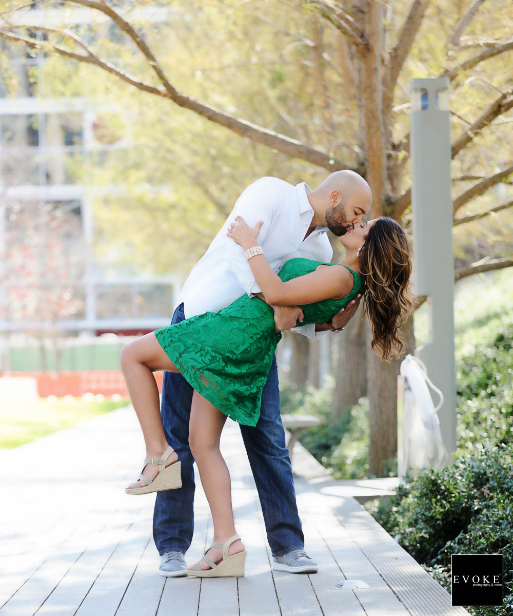 Engagement kiss at Discovery Green.