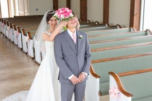 The couple have a silly moment during their First Look