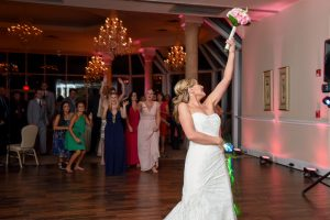 The anticipation of the bouquet toss
