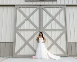 Bride and a modern barn