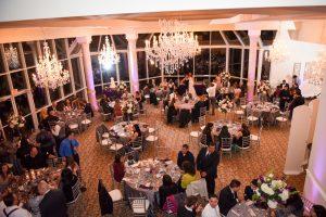 An evening wedding reception