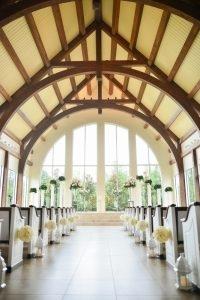 A bright and light day illuminates the wedding chapel