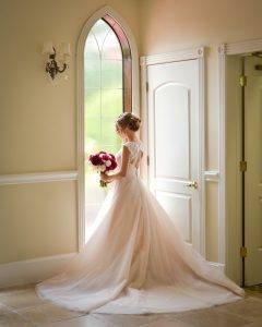 A naturally lit bridal portrait