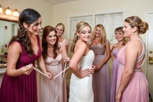 The bride gets a little help from her friends
