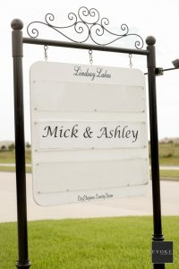 Wedding guests are greeted by a sign just for the happy couple