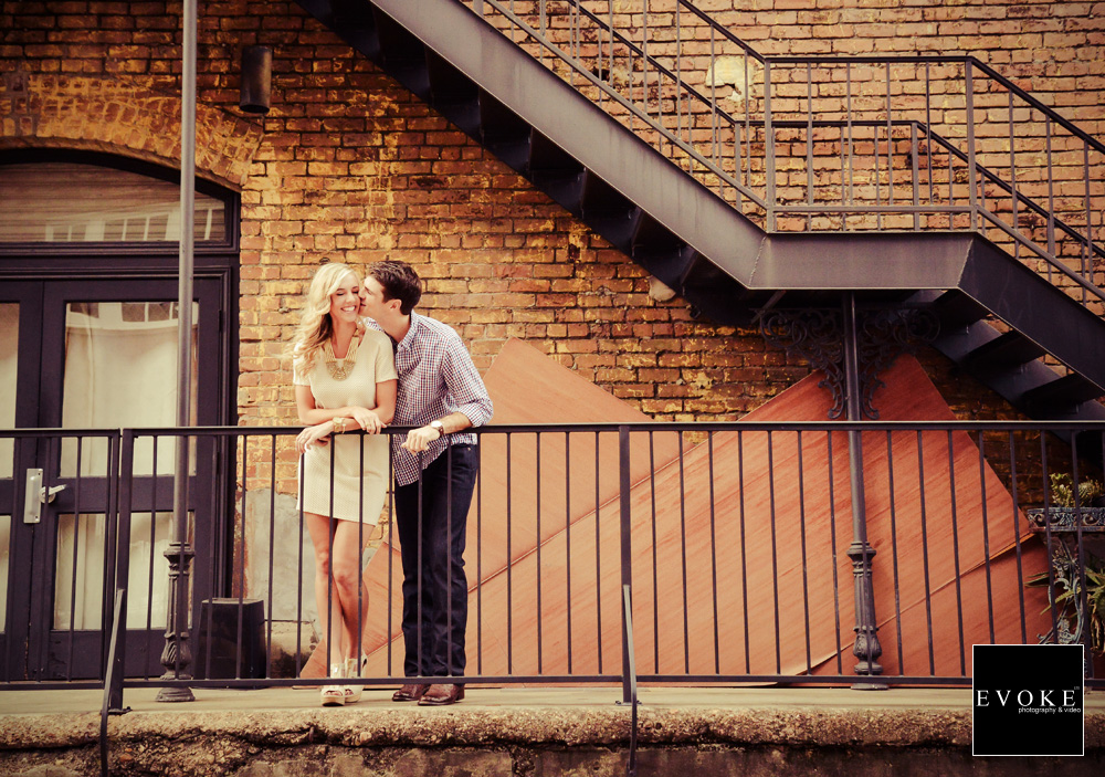 Engagement photography session at Dakota Lofts in Houston Texas by EVOKE.