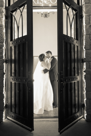 The wedding chapel doors are open to the happy couple's new life