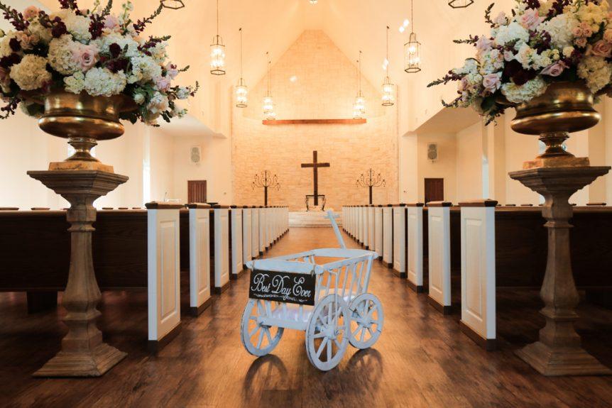 Wedding details in the wedding chapel