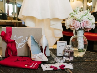 The bride shows personality through outfit details