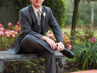 A seated groom awaits the ceremony