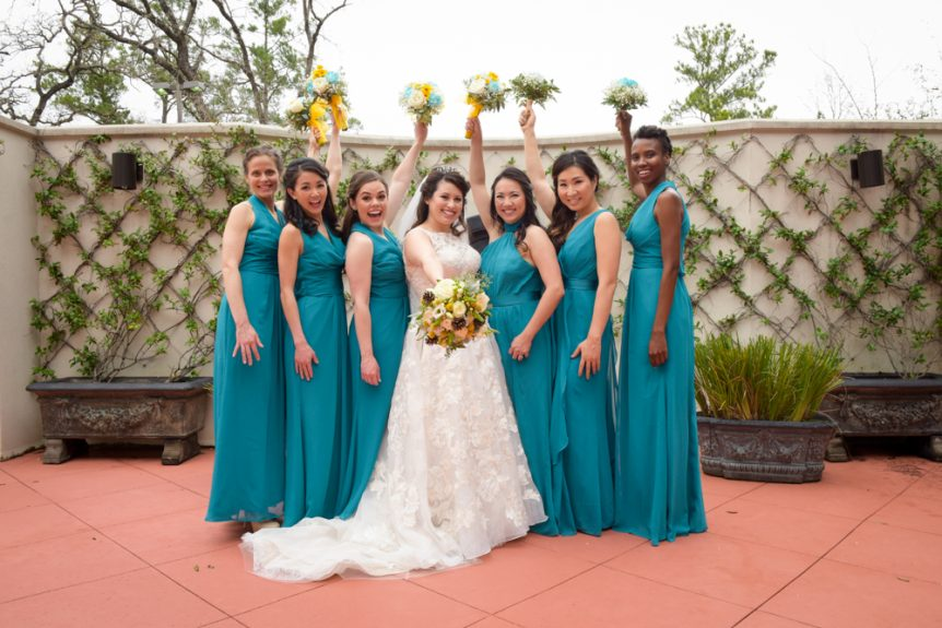 An excited bridal party before the ceremony