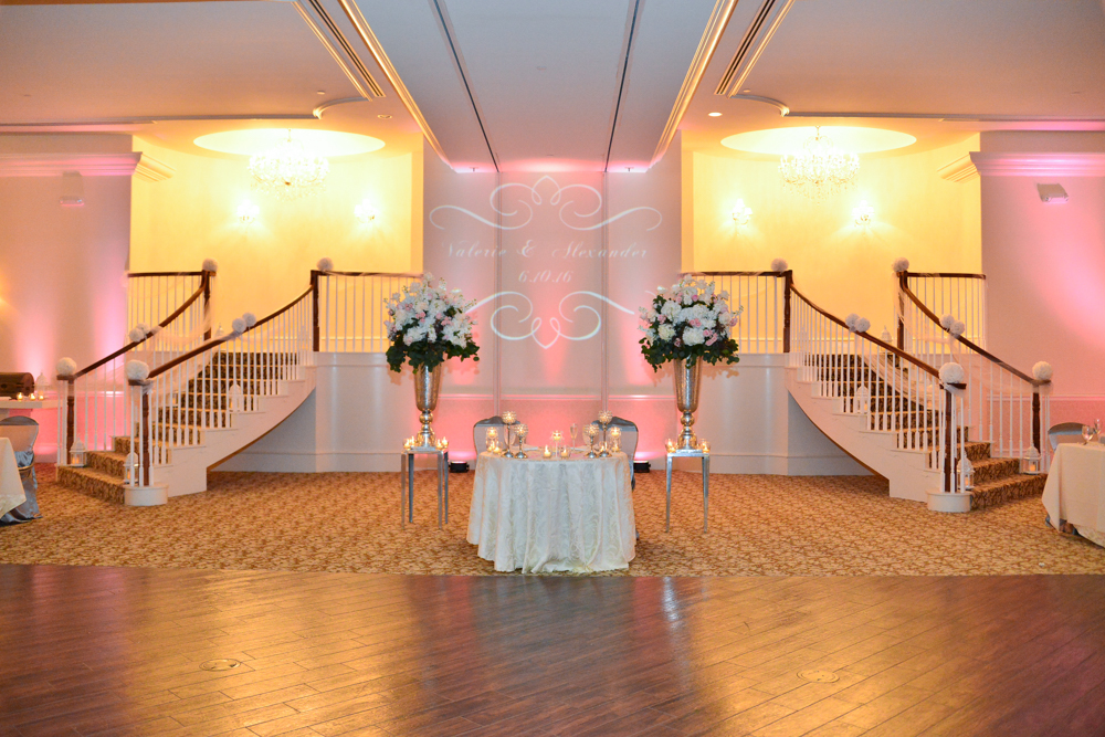 An elegantly decorated reception hall