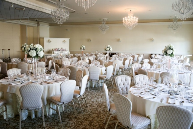An abundance of white covers the reception hall