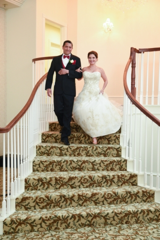 The newlyweds make an entrance into the reception