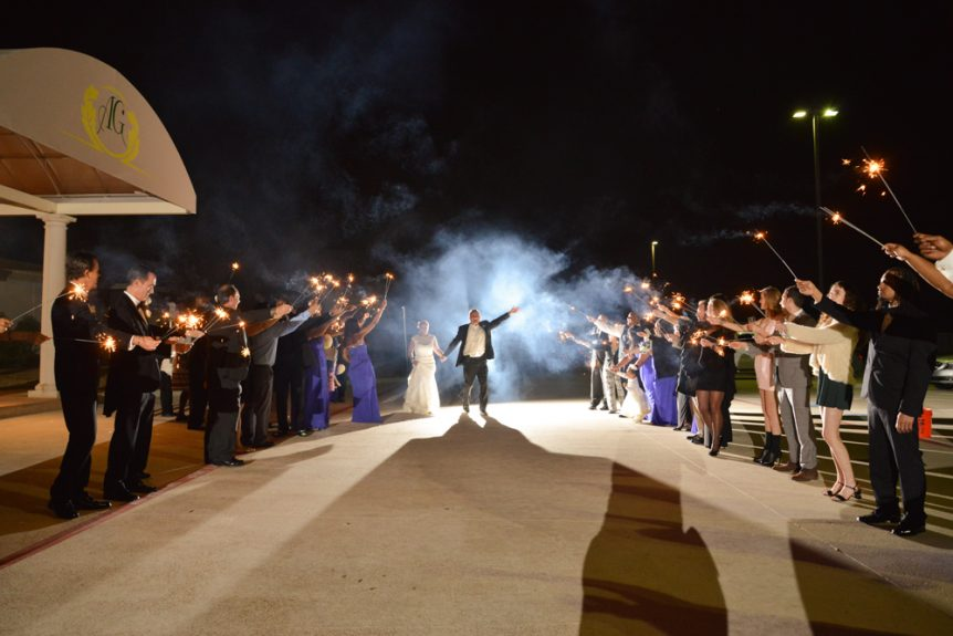 Sparklers make for a grand exit from your wedding reception