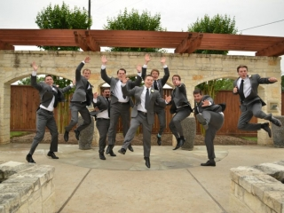 Jumping with joy for the groom on his wedding day