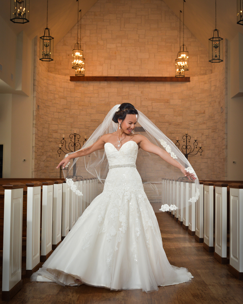 A matching veil and wedding dress