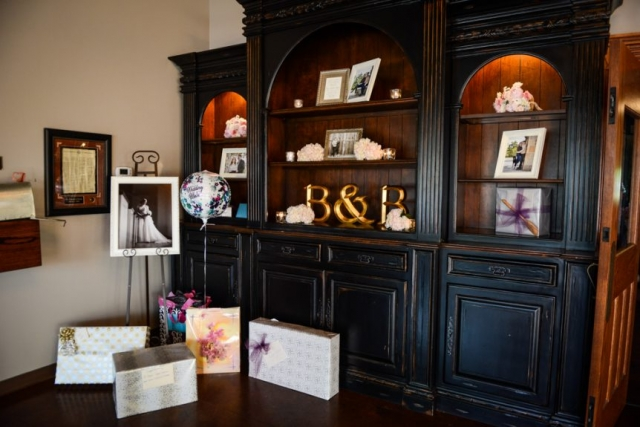 Photographs and flowers on display to set the tone for the reception