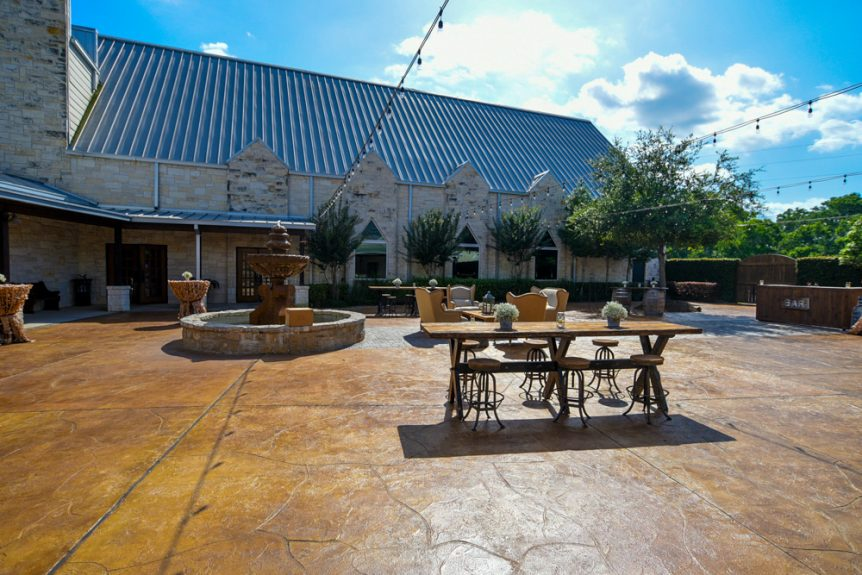 An outdoor patio to enjoy nice weather on the Big Day