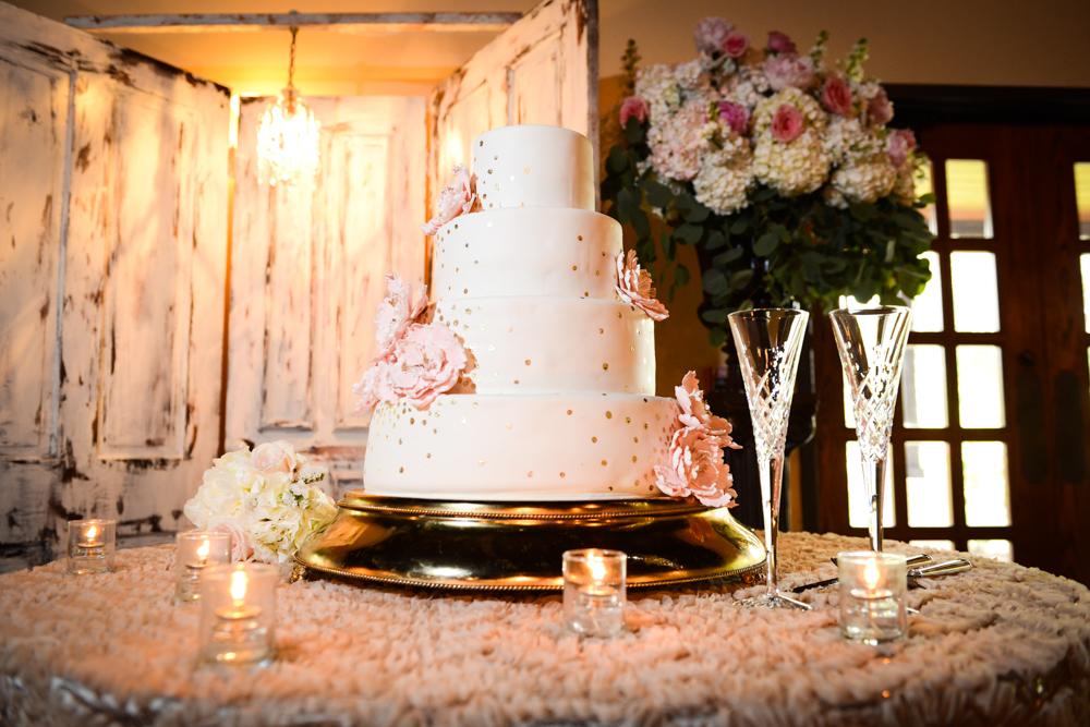 A modern spring wedding cake display