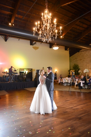 Guests watch the couple take their First Dance