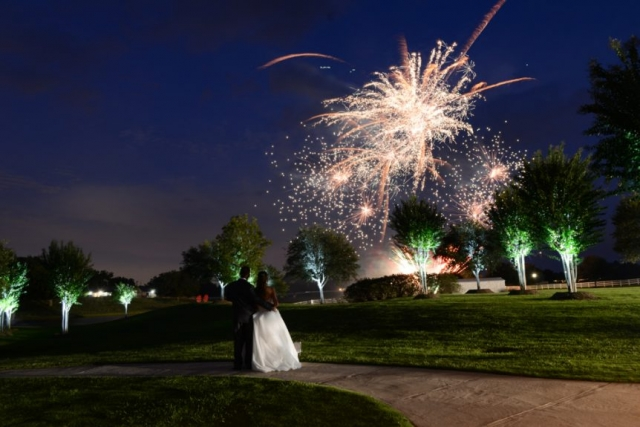 The wedding reception ends with fireworks