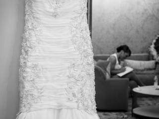 Wedding Dress and Bride before getting married at Crystal Ballroom