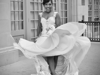 B&W Dancing Bride on Patio at Crystal Ballroom