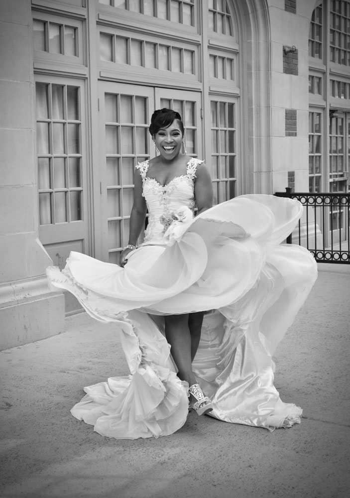 B&W Dancing Bride on Patio at Crystal Ballroom