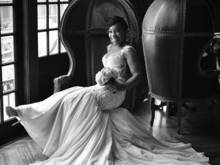 B&W Bridal Session in the Empire Room at Crystal Ballroom