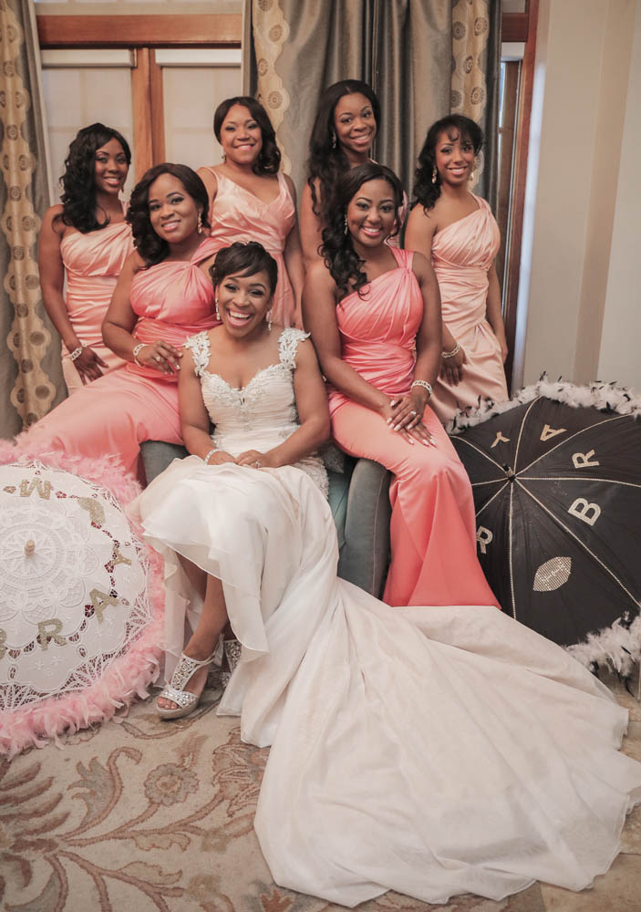 Bride and Bridesmaids at Crystal Ballroom