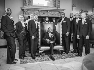 Sharp Dressed Groom and Groomsman in the Empire Room at Crystal Ballroom