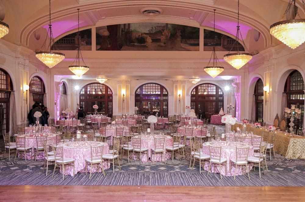 Crystal Ballroom decorated for a Wedding